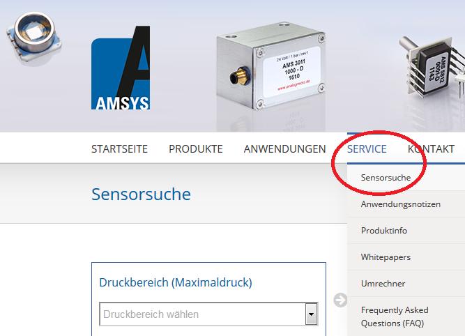 Drucksensor finden bei AMSYS